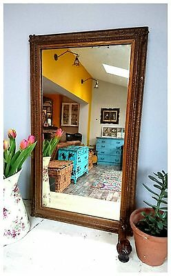 Beautiful Antique French Gilt old wall mirror rectangular rustic farmhouse decor