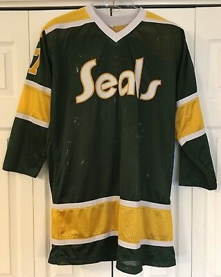 066705c79 GILLES MELOCHE CALIFORNIA GOLDEN SEALS hockey jersey NHL vintage SEWN large  L