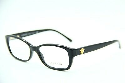 432b4bcd8177 NEW VERSACE MOD. 3207 GB1 POLISHED BLACK EYEGLASSES AUTHENTIC FRAME Rx 52-16