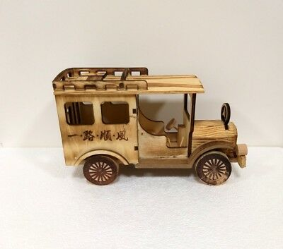 vintage style wooden car handmade mercedes vehicle home decor toy  craft jeep