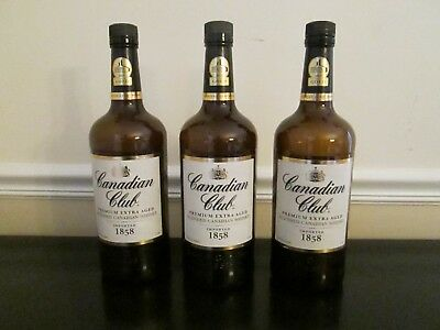 Lot of 3 Empty 1 Liter/1000 ML Canadian Club Bottles with Caps