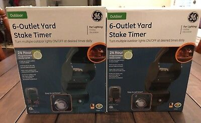 GE 6-Outlet Grounded 24-hour Yard Stake Timer. Took pictures of boxes & timers