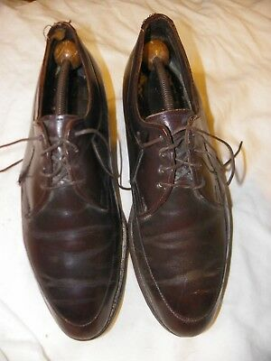 Vintage Mens Coffee Brown Leather Shoes Size 8 With Wood Shaper