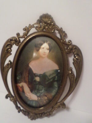 VINTAGE Victorian Lady Ornate Brass Metal Wall Frames MADE IN ITALY