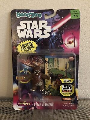 NEW NIB 1993 JusToys Star Wars Bend-Ems Wicket the Ewok Figure MOC Limited Card