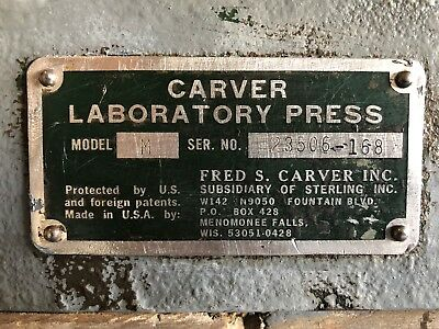 Carver Model M Laboratory Press 25 Ton w/ Accesories. Tested and Refurbished!