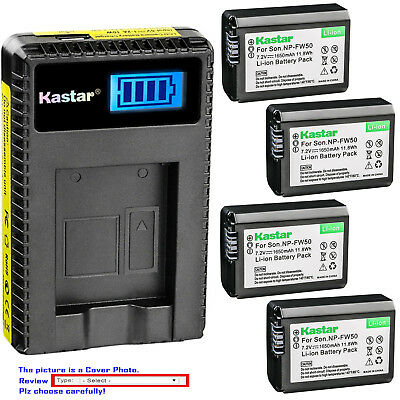 Kastar Battery LCD USB Charger for Genuine Sony NP-FW50 Original BC-VW1 BC-TRW