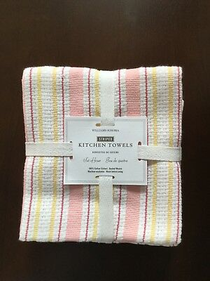 Williams Sonoma Set Of 4 Pink Yellow Clic Striped Kitchen Towels