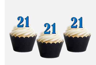 Age Birthday Edible Stand Up Cupcake Toppers 21ST 30TH 40TH 50TH 60TH 70TH 618