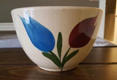 "Vintage Yellow Oven Ware 7 1/2"" Mixing Bowl Red & Blue Tulip Pattern"