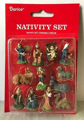 "Miniature Dollhouse Mini CHRISTMAS Tree ~ 12 1"" Resin Nativity Ornaments"