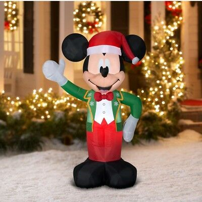 airblown inflatable mickey mouse with santa hat 5 ft christmas decoration gemmy