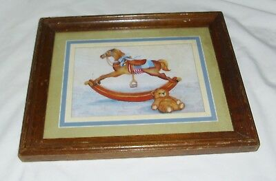 HOMCO Collectible Rocking Horse Teddy Bear Picture Wood Glass Frame