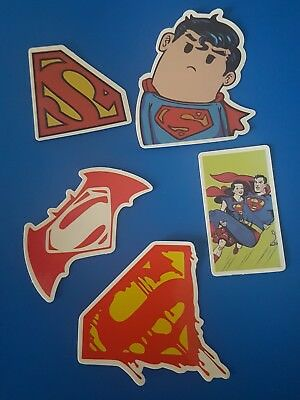 Super Hero Sticker/Decal Superman style Fun Characature (5 stickers)