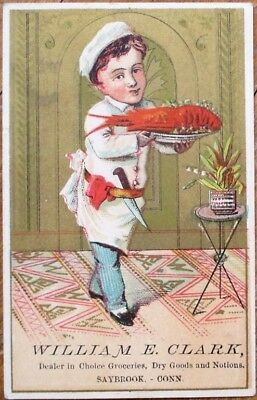 Saybrook, CT 1890 Victorian Trade Card - Lobster & Young Chef- Grocery & Notions