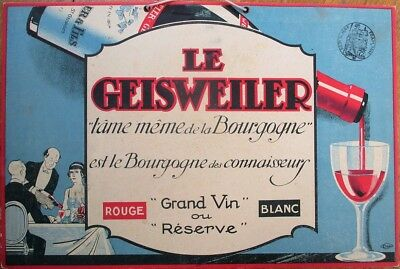 Bourgogne Wine 1930s French Art Deco Advertising Sign - Le Geisweiler Grand Vin