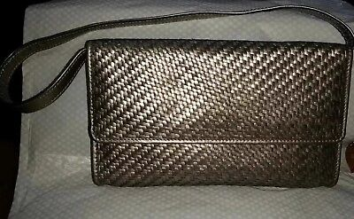 5d878571761 Pons Quintana Gold silver Weaved Leather Clutch wristless Bag, New Without  Tags