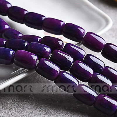 """Synthetic Sugilite Gemstone Barrel Shape Loose purple Beads 15.5"""" Inches Strand"""