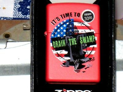 New ZIPPO Windproof USA LIGHTER 79089 It's Time Drain the Swamp Red Matte Case