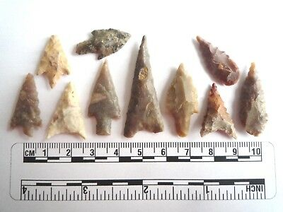 Neolithic Arrowheads x 10, High Quality Selection of Styles - 4000BC - (2468)