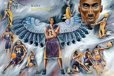 KOBE BRYANT BLACK MAMBA 24x36 poster LOS ANGELES LAKERS MVP WORLD CHAMPION NEW!!