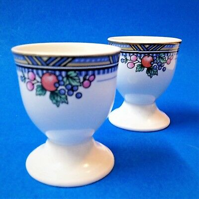 Royal Bone China - 2 x Matching Pedestal EGG CUPS - Fruit & Foliage