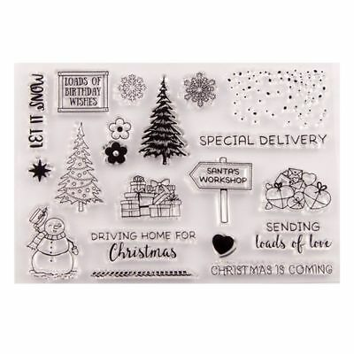 Christmas Tree Snowman Silicone Clear Stamp Seal DIY Scrapbook Embossing Album