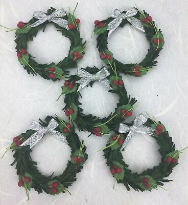 5 Quality GREEN 5cm Mulberry Paper Christmas Wreaths Xmas Craft/ Dolls House