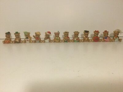 Home Interior HOMCO Porcelain Figures Calender Bears Complete Set of 12 # 1413