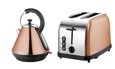 1.8L Kettle Cordless Toaster 2 Slice Wide Slot Bread Electric Axinite Set Copper