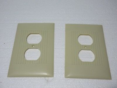 2 Vintage Ivory Over Size Light Switch Wall Plate Cover Ribbed Bakelite Sierra