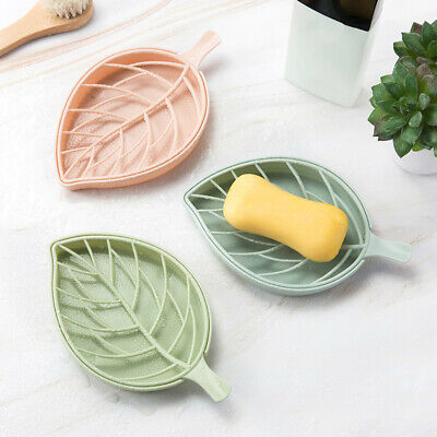 Tray with Drain Plastic Soap Double Layer Leaf Shape Soap Dish