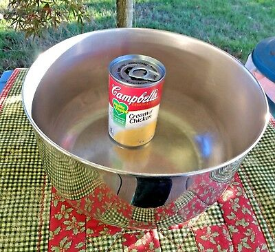 """Vintage REVERE WARE Extra Large Stainless Steel Mixing Bowl 9.5"""" x 4.75"""" RARE"""