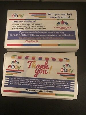 300 Ebay Thank You Cards Seller Feedback Ebay Business Cards