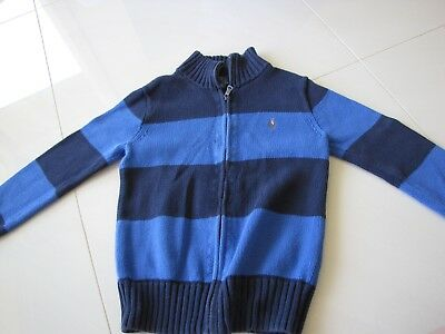 Polo by Ralph Lauren - boys size 8 cotton knit blue stripe jumper with zip front