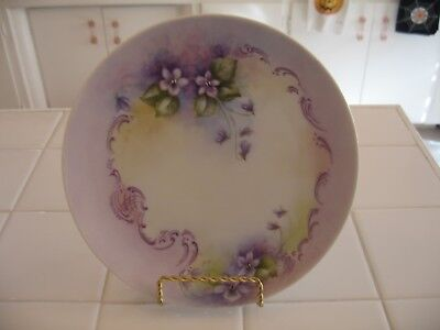 Beautiful Vintage Hand Painted Decorative Plate With Violets