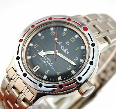 Vostok Amphibian 420270 /2416b Russian Military Divers Automatic Mens Watch 200m