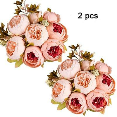 Flowers Bouquet Vintage Wedding Party Decor Home Artificial Peony Silk Realist