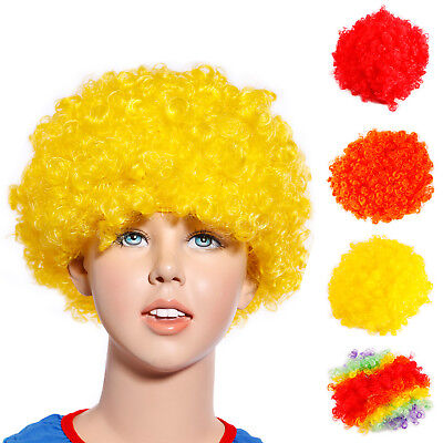 80s Childrens Kids Curly Afro Pop Funky Clown Wig Fancy Dress Costume outfit