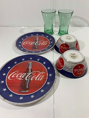 6 Piece Set Coke Coca Cola Americana 2 Plastic Plates & Bowls 2 Green Glasses