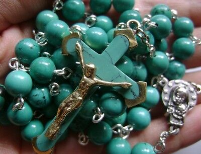 CATHOLIC Natural Turquoise BEADS & Turquoise CROSS 5 DECADE ROSARY necklace