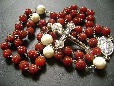 Rare Red Chalcedony Rose Rosary oxen Rose Beads Cross crucifix catholic necklace