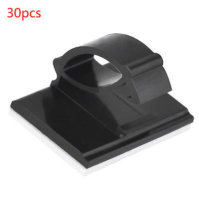 30pcs Wire Cable Clips Self-adhesive Cable Ties Rectangle Cable Holders Black