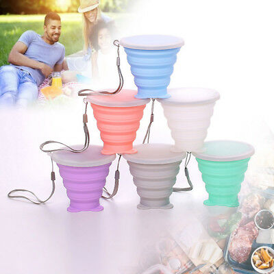Portable Silicone Retractable Folding Cup Telescopic Collapsible Travel 6 Colors