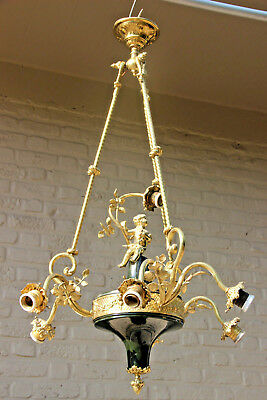 Stunning French Empire design antique Chandelier putti cherub floral decor