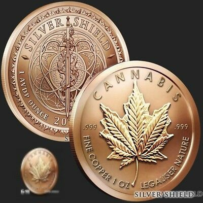 1 oz Cannabis Copper Round .999 Fine - Brand New - Straight From The Mint