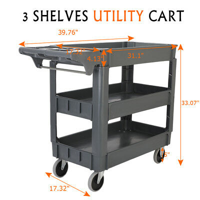 3 Shelves Plastic Utility Service Cart 550 lb Capacity with 360°Swiveling Wheels