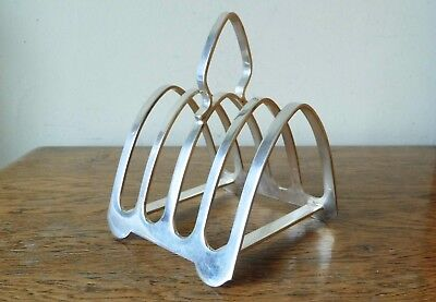 VINTAGE 1960s SHEFFIELD SILVER PLATED 4 Division TOAST RACK 4 Semicirclar Feet