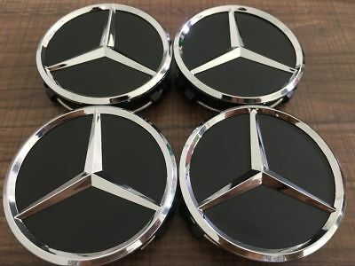 Fits 4x MERCEDES BENZ ALLOY WHEEL CENTRE CENTER CAPS BLACK 75MM badges C class