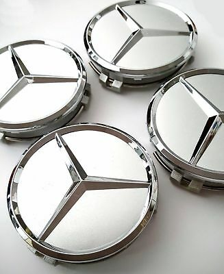 4 PCS 75mm Wheel Center Hub Caps Cover Badge Emblem For Mercedes Benz Silver